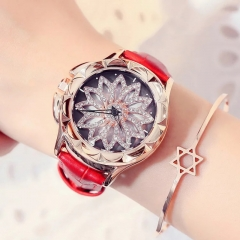 Fashion Wrist Watch Women Rhinestone Flower Shape Shiny Diamend Wristwatches red
