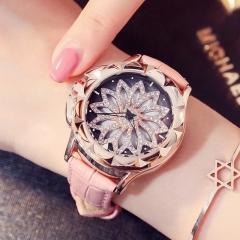 Fashion Wrist Watch Women Rhinestone Flower Shape Shiny Diamond Wristwatches pink