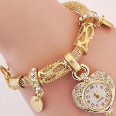 Fashion Wrist Watch Women Rhinestone Shiny Diamend  Bracelet Jewelry Jewellery Wristwatches For Lady golden