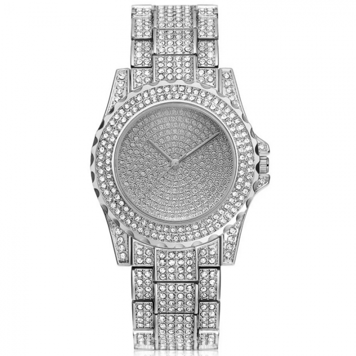 Women Fashion Wrist Watch Rhinestone Diamond Wristwatches Ladies Classic Luxury Quartz Watches silver