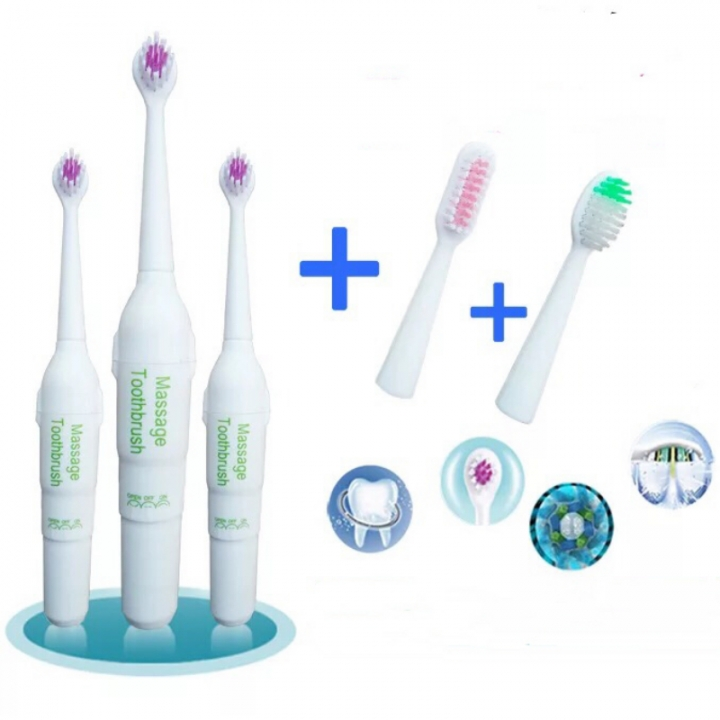 Electric Toothbrush Tooth Brush With 3 Brush Heads Oral Hygiene Dental Care Multifunctional Multicolor
