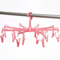 Foldable Hanger Hook with Clips Airer Drying Rack Clothes Rack For Underwear Socks Clothes towel pink