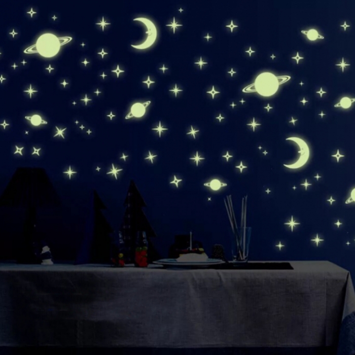 Fluorescent 3D Wall Stickers Decal Stars Planet Moon Glow In The Dark Home Decor yellow one color one size