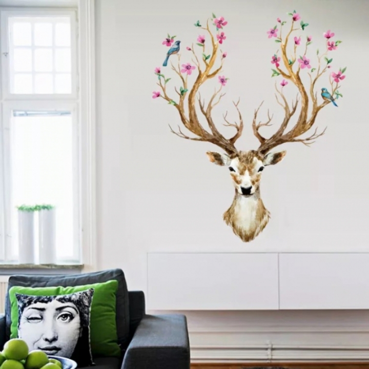 3D Wall Stickers Animal Sticker Deer Design Wall StickersLivingRoom Bedroom Removable Home Decor multi-color one size