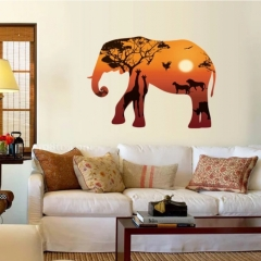 3D Wall Stickers Animal Sticker Elephant Design Wall StickersLivingRoom Bedroom Removable Home Decor brown one size