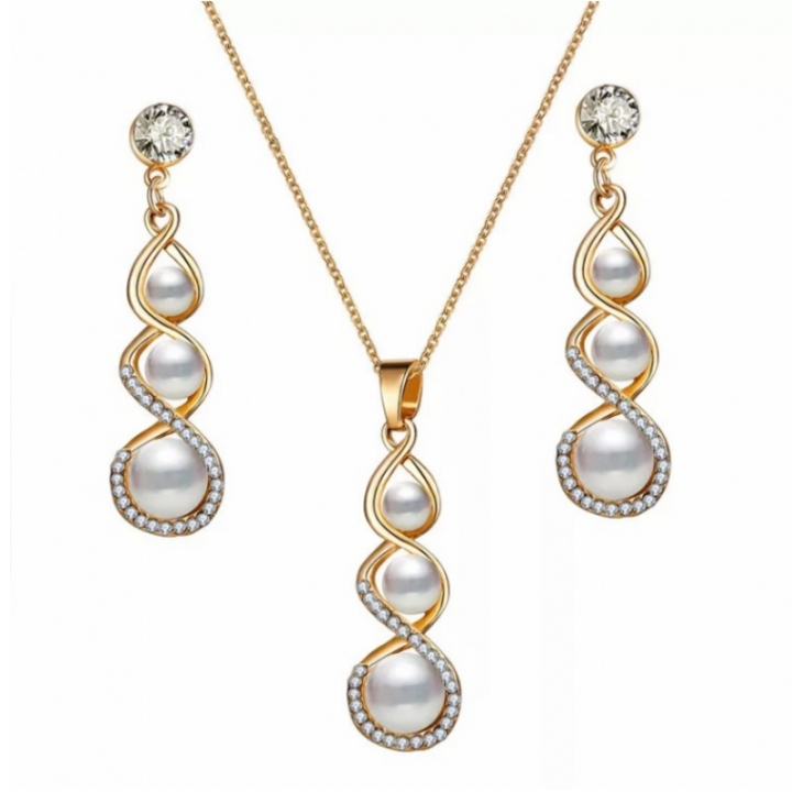3Pcs Set Fashion Pearl Crystal Earrings Necklace Set Jewelry necklace Pendant Women Gift Jewellery white one size