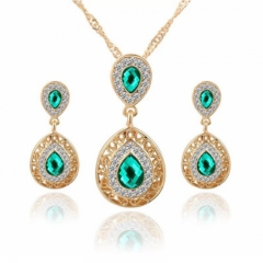 3 Pcs/set Jewelry Jewellry Women Necklace Pendant Earrings Crystal Rhinestone Gemstone Wedding Party green one size