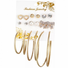 9 Pairs/Set Fashion Punk Crystal Pearl Stud Earrings For Women Vintage Jewellery gold gold one size