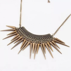 Pendant Necklace Gold Chain Punk  Rivet Tassel Long Triangle Shape gold as picture one size