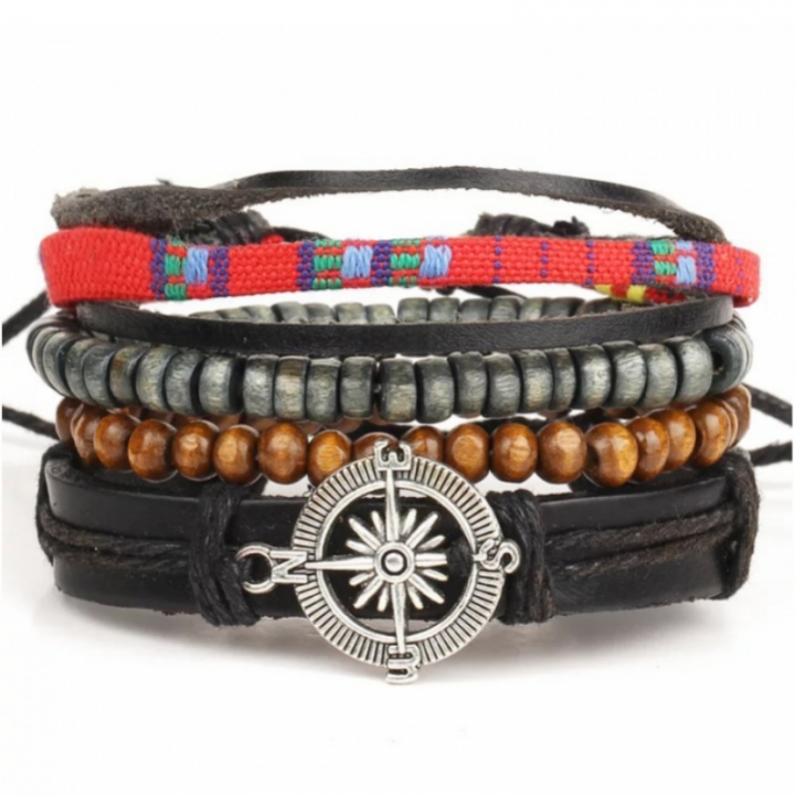 Jewelry Bracelet New fashion Leather Punk Vintage Compass Hand Knitting Bead Multilayer Charm Gift multicolor as picture one size