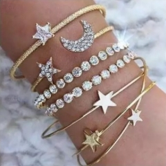 Multiple Pcs Bracelet Women's Fashion Retro Vintage Noble Exquisite Rhinestone Shining Bracelet Gift gold one size