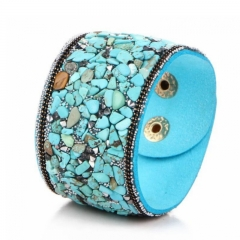 Bracelet Punk Wide Leather Bangle with Natural Crystal Crushed Stone For Women Lady Gift blue one size