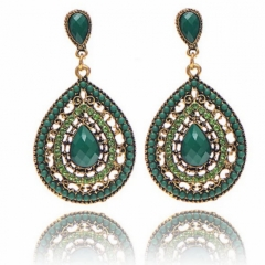 Women JewelryJewellry Earrings  Noble Elegant Crystal Rhinestone Gemstone Wedding Party Gift green one size