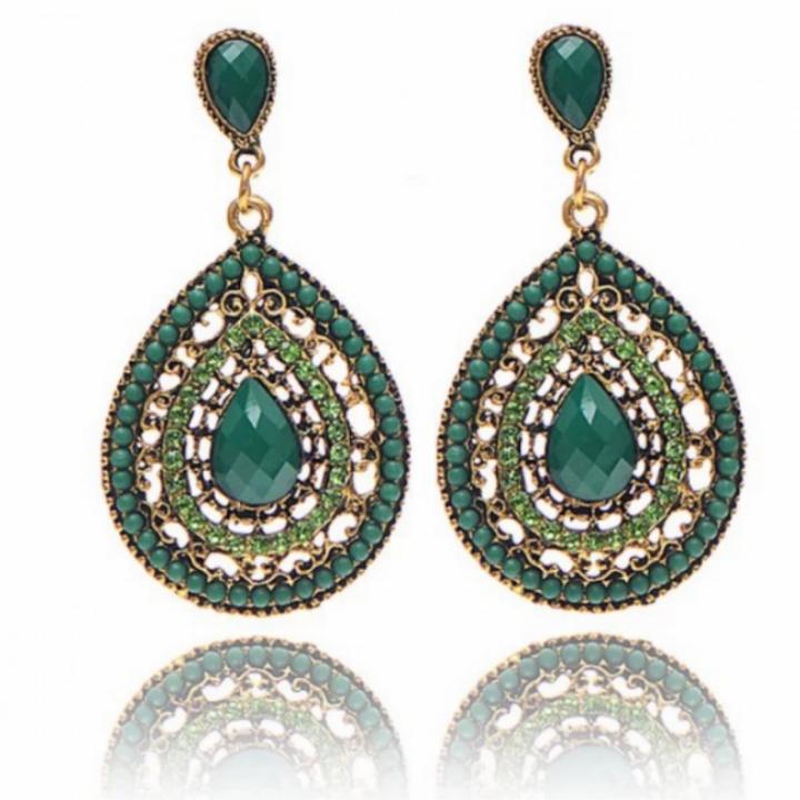 Women JewelryJewellry Earrings  Noble Elegant Crystal Rhinestone Gemstone Wedding Party Gift green one size