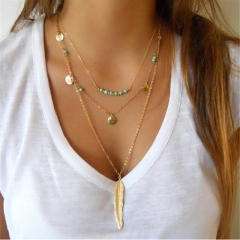 Jewelry Jewellery Necklace Pendant Multi-layer Turquoise Bright Bead Leaf For Women Lady Party Gift gold as picture 3-layer