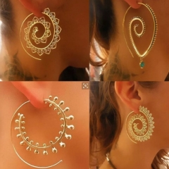 1 Pair/Set Hot Sale New Fashion Unique Punk  Earrings For Women Vintage Jewellery gold model 3 one size