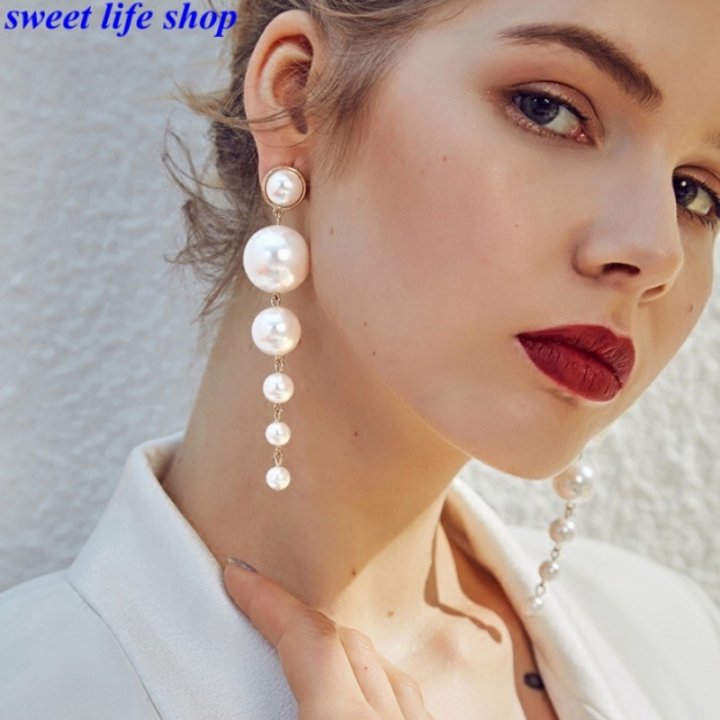 1 Pair of Earrings New Fashion Beautiful Hot Womens Fashion Long Pearl Earrings white one size