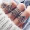 10 piece/Set New Rhinestone gem zircon Wedding Rings Women Jewellery Christmas Gift Valentines Gift silver 10 pcs set