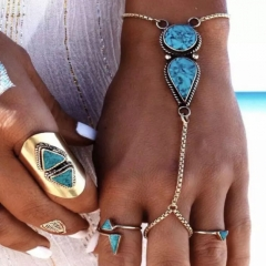 New Fashion Bohemian Retro Vintage National Style Turquoise Bracelet Ring For Women Lady Gift Party blue and silver one size