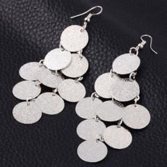 New Fashion Jewelry Rock Rounds Tassel Earrings Women Jewellery Party Wedding silver as picture one size