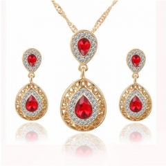 3 Pcs/set Jewelry Jewellry Women Necklace Pendant Earrings Crystal Rhinestone Gemstone Wedding Party red one size