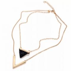 1Pcs/Set New Beautiful Multi layer triangle Style Turquoise Necklace Pendant  Women Jewellery Gift black one size