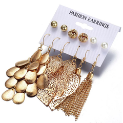 6 Pairs/Set Fashion Earrings Pearl Stud Hollow Leaf Design Earrings For Women Lady Gift gold one size