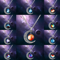 New Fashion Jewelry Jewellery Necklace Pendant of Moon Galaxy Universe Design for Women  Men Gift blue and purple one size