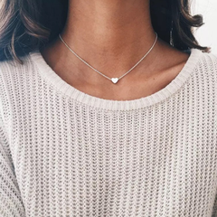 Fashion Jewelry Jewellery Necklace Pendant  Choker  Chain for Women Lady Gift Exquisite Heart Design silver one size