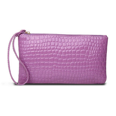 Handbag for Women Portable Wallet Purse Simple Style Crocodile Pattern Bag purple one size