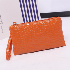 Handbag for Women Portable Wallet Purse Simple Style Crocodile Pattern Bag orange one size