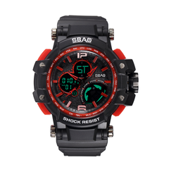 Men's Watch Fashion Wrist Watch Casual Outdoor Sport Wristwatch Quartz Watch Multipurpose black and red one size