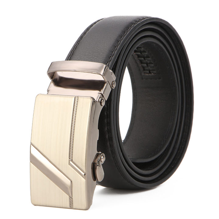 Men's Leather Belt Business Jeans Belt Fashion Buckle Genuine Cowhide Leather Belt 13 110cm