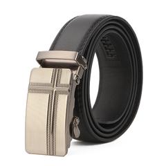 Men's Leather Belt Business Jeans Belt Fashion Buckle Genuine Cowhide Leather Belt 5 110cm