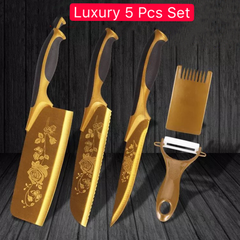5 Pcs Set Kitchen Knives Titanium Gold Multifunctional Cutter For Meat Vegetables Fruit golden as picture 5 Pcs Set
