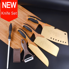 6 Pcs Set Kitchen Knives Titanium Gold Knives Multifunctional Cutter For Meat Vegetables Fruit golden as picture 6 pcs set