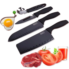 5 Pcs Set Kitchen Knives Black Stainless Steel Knives Multifunctional Cutter  Meat Vegetables Fruit black as picture 5 pcs set