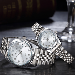 High-End WLIStH Brand 2 PCS Set Couples Wrist Watch Men Women Lovers Waterproof Quartz Wristwatches silver and white 2pcs (1 male and 1 female)