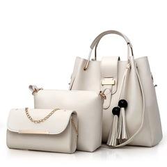 SL Women's Handbags Luxury 3 Pcs/Set Handbags+Shoulder Bag+Wallet 5 Colors Noble Elegant Exquisite white one size