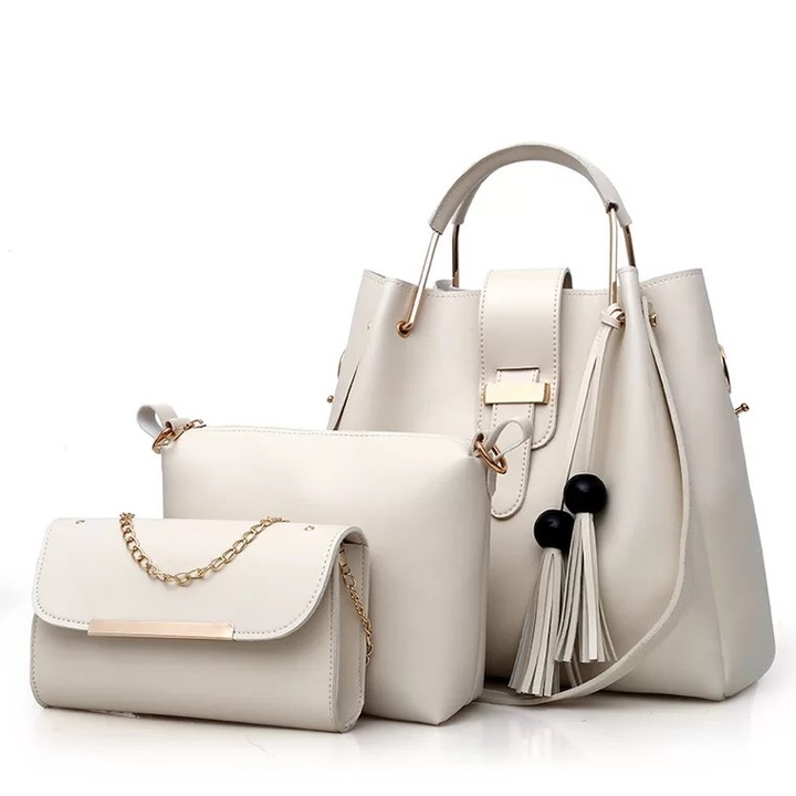 SL Women's Handbag Luxury 3 Pcs/Set Handbag+Shoulder Bag+Wallet 5 Colors Noble Elegant Exquisite white one size