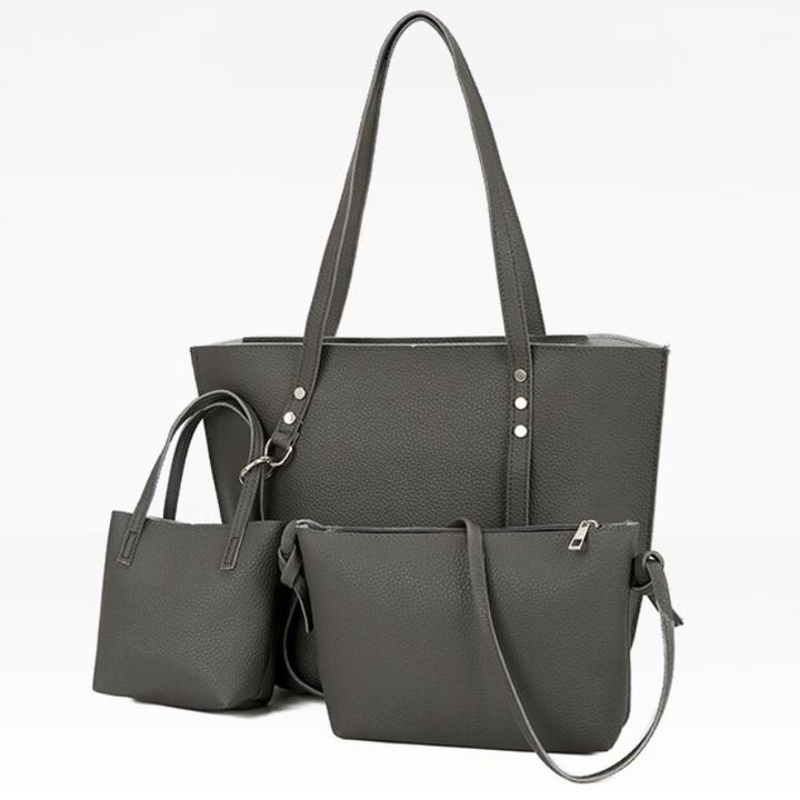 SL Women's Handbag Luxury 3 Pcs/Set Handbag+Shoulder Bag+ Cellphone Bag Fashion Classic with Rivet dark grey 37x13x26cm