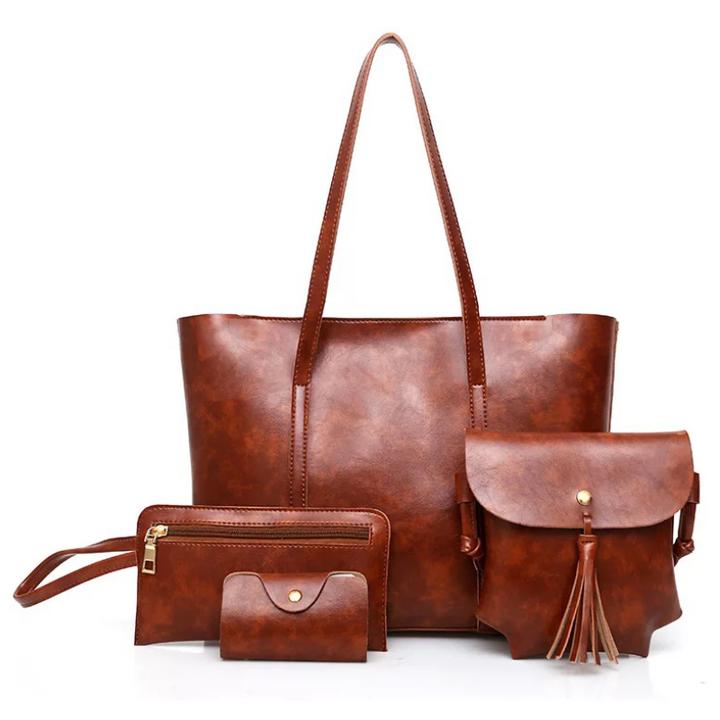 sweet life Womens Ladies Handbag 4PCS Set Large Capacity Classic Elegant PU Leather with wallet brown 31x12x28cm