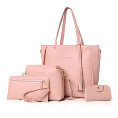 SL Women's  Handbag With Tassel Purse Wallet Fashion Ladies PU Leather Crossbody Bag 4 PCS/Set pink one size