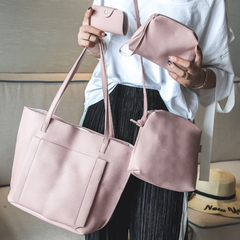 SL Handbag Fashion Women's Bag Purse Ladies PU Leather Crossbody Bag 4Pcs/Set pink one size