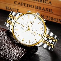 Wrist Watch for Men Luxury High End Wristwatches Waterproof Quartz Watch Business Casual Style white silver and golden one size