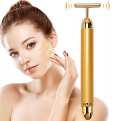 24K Gold Energy Beauty Bar T Type Electric Facial Massager Skin Care Instrument Face Slimming gold