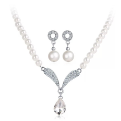 3Pcs Set Fashion Pearl Crystal Earrings Necklace Set Jewelry Pendant Women Gift For Wedding Party white and silver 3 pcs set