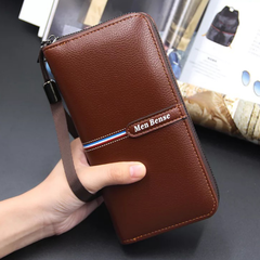 Wallet Handbag Clutch Bag for Men PU Leather Long Business Casual Style Large Capacity Bag light brown one size