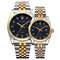 High-End WLIStH Brand 2 PCS Set Couples Wrist Watch Men Women Lovers Waterproof Quartz Wristwatches black and golden 2pcs (1 male and 1 female)
