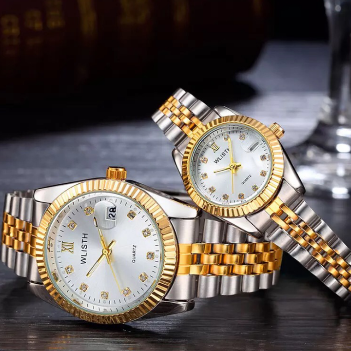 High-End WLIStH Brand 2 PCS Set Couples Wrist Watch Men Women Lovers Waterproof Quartz Wristwatches white and golden 2pcs (1 male and 1 female)